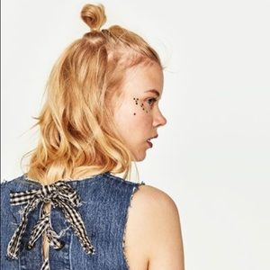 Denim Crop Top with Bows